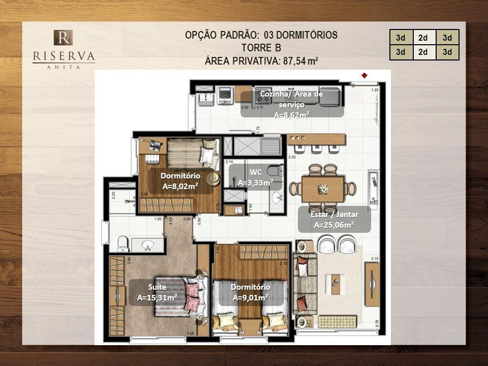 OPÇÃO PADRÃO: 03 DORMITÓRIOS TORRE B ÁREA PRIVATIVA: 87,54 m² Estar / Jantar A=25,06m² DormitórioA=8,02m² Cozinha/ Área de serviço A=8,62m² SuíteA=15,