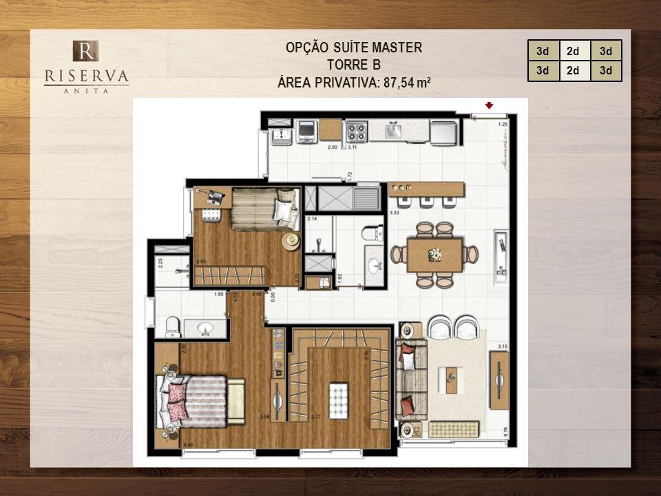 OPÇÃO SUÍTE MASTER TORRE B ÁREA PRIVATIVA: 87,54 m² 3d2d3d 2d3d