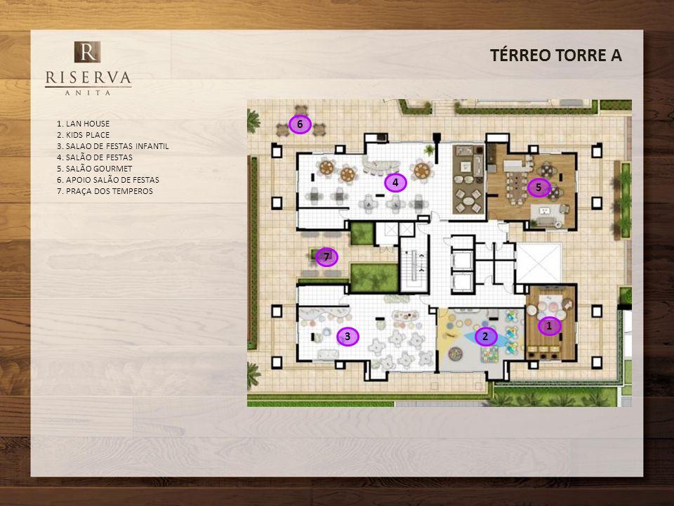 TÉRREO TORRE A 1. LAN HOUSE 2. KIDS PLACE 3. SALAO DE FESTAS INFANTIL 4. SALÃO DE FESTAS 5. SALÃO GOURMET 6. APOIO SALÃO DE FESTAS 7. PRAÇA DOS TEMPER