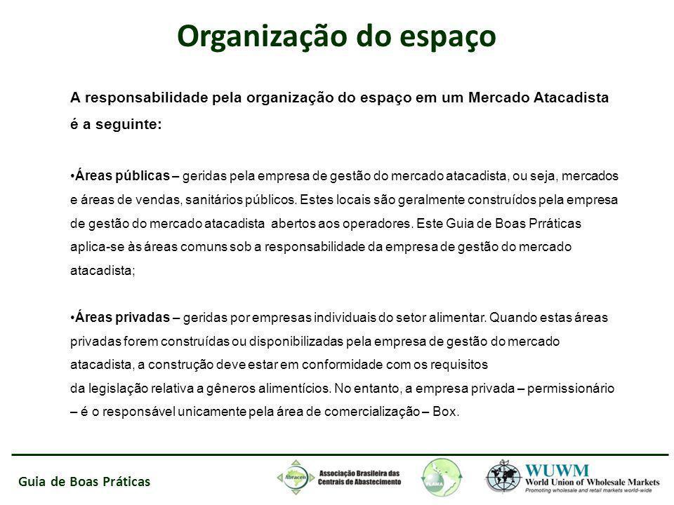 Guia de Boas Práticas Organização do espaço A responsabilidade pela organização do espaço em um Mercado Atacadista é a seguinte: Áreas públicas – geri