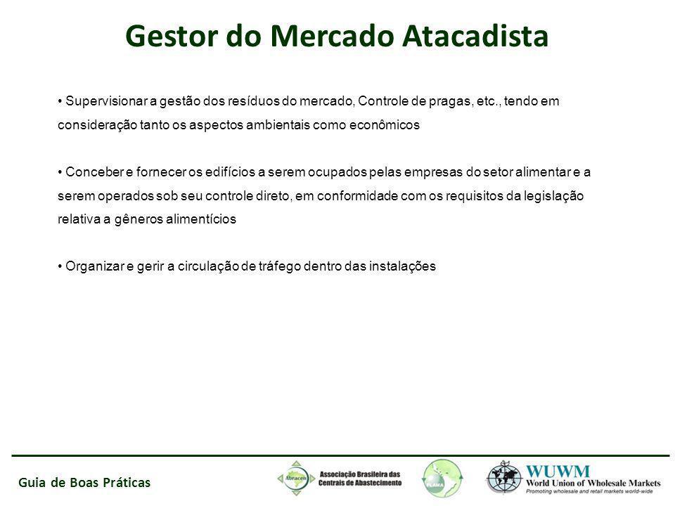 Guia de Boas Práticas Supervisionar a gestão dos resíduos do mercado, Controle de pragas, etc., tendo em consideração tanto os aspectos ambientais com