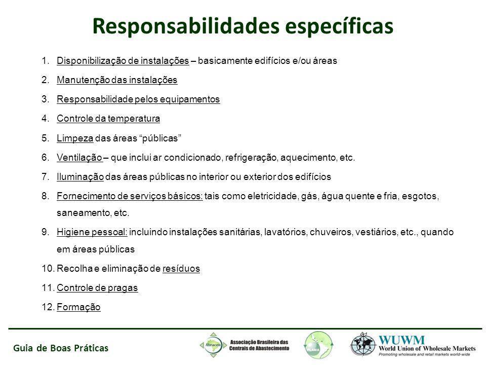 Guia de Boas Práticas Responsabilidades específicas 1.Disponibilização de instalações – basicamente edifícios e/ou áreas 2.Manutenção das instalações