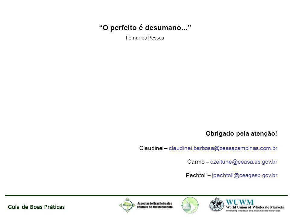 Guia de Boas Práticas O perfeito é desumano... Fernando Pessoa Obrigado pela atenção! Claudinei – claudinei.barbosa@ceasacampinas.com.br Carmo – czeit