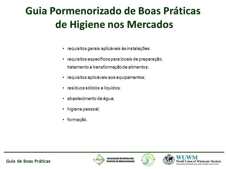 Guia de Boas Práticas requisitos gerais aplicáveis às instalações; requisitos específicos para locais de preparação, tratamento e transformação de ali