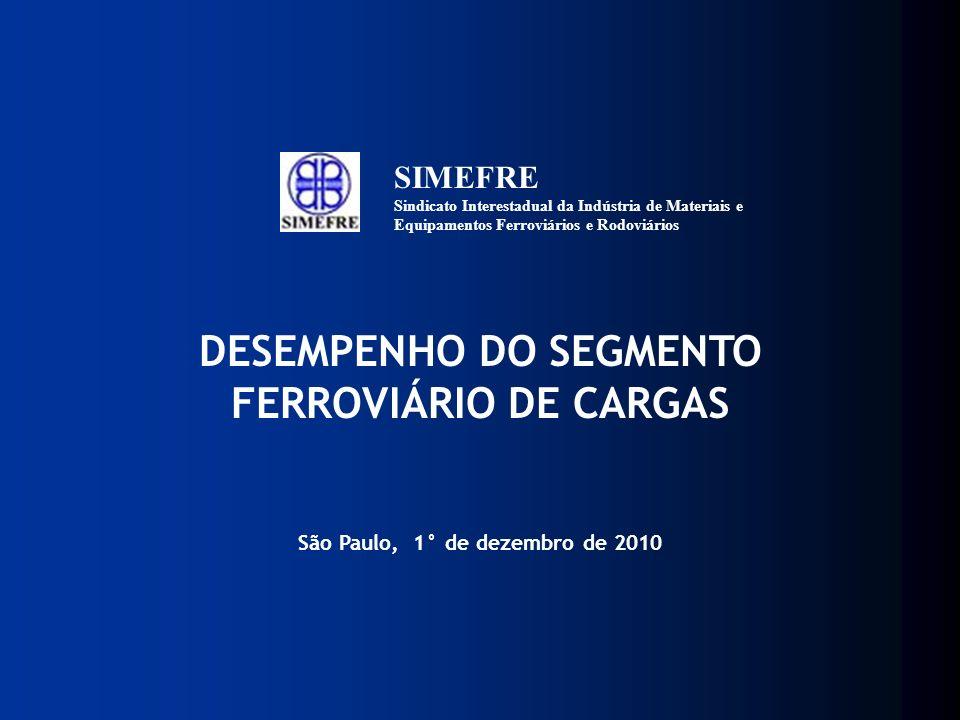 DESEMPENHO DO SEGMENTO FERROVIÁRIO DE CARGAS São Paulo, 1° de dezembro de 2010 SIMEFRE Sindicato Interestadual da Indústria de Materiais e Equipamento