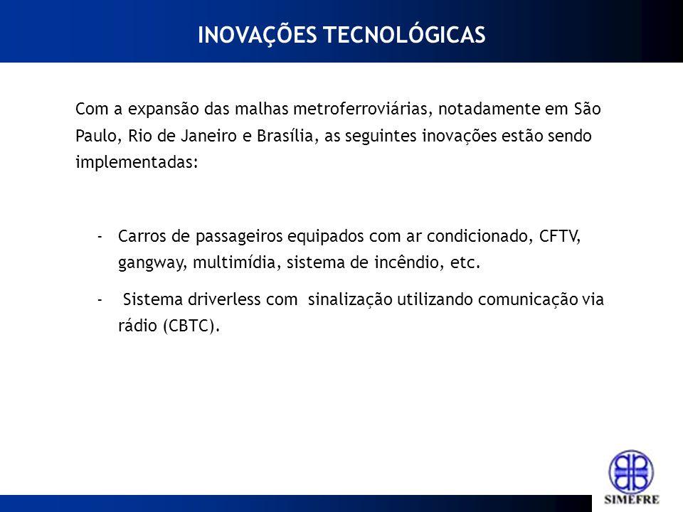 Com a expansão das malhas metroferroviárias, notadamente em São Paulo, Rio de Janeiro e Brasília, as seguintes inovações estão sendo implementadas: -C