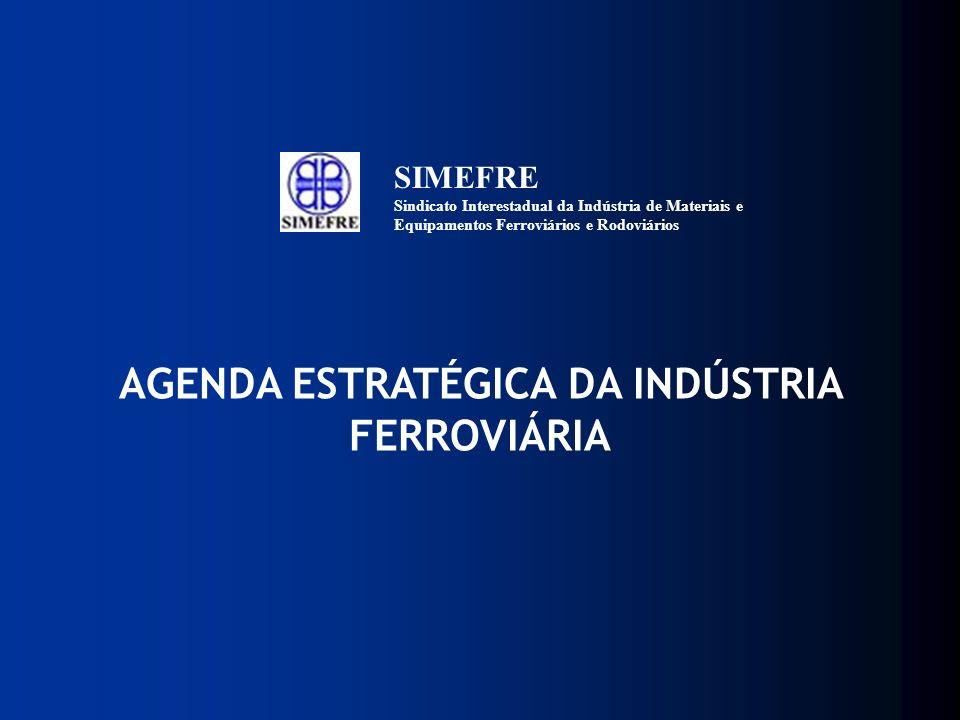 AGENDA ESTRATÉGICA DA INDÚSTRIA FERROVIÁRIA SIMEFRE Sindicato Interestadual da Indústria de Materiais e Equipamentos Ferroviários e Rodoviários