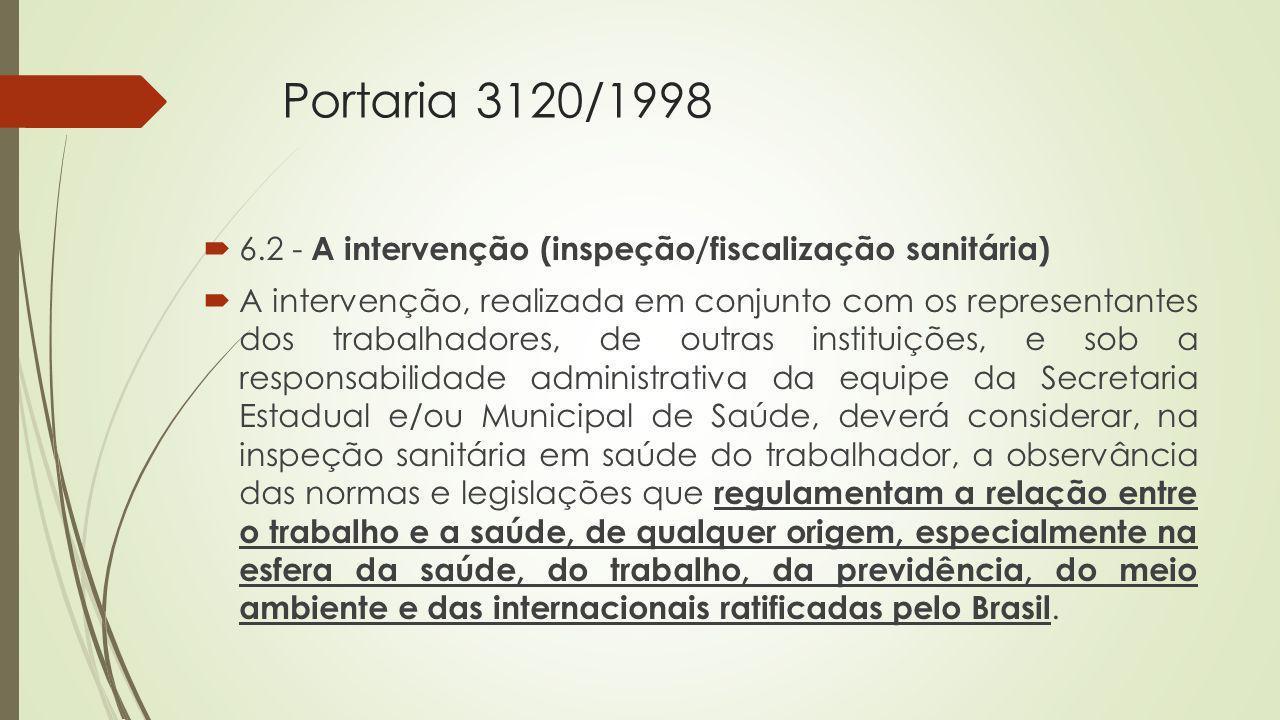 Portaria 3120/1998 6.2 - A intervenção (inspeção/fiscalização sanitária) A intervenção, realizada em conjunto com os representantes dos trabalhadores,
