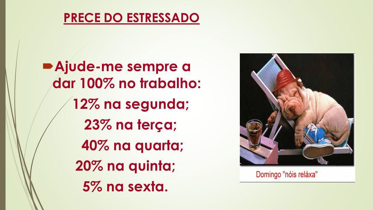 PRECE DO ESTRESSADO Ajude-me sempre a dar 100% no trabalho: 12% na segunda; 23% na terça; 40% na quarta; 20% na quinta; 5% na sexta.