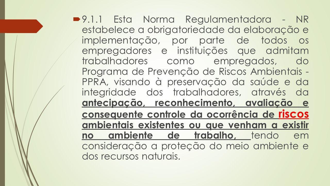 9.1.1 Esta Norma Regulamentadora - NR estabelece a obrigatoriedade da elaboração e implementação, por parte de todos os empregadores e instituições qu