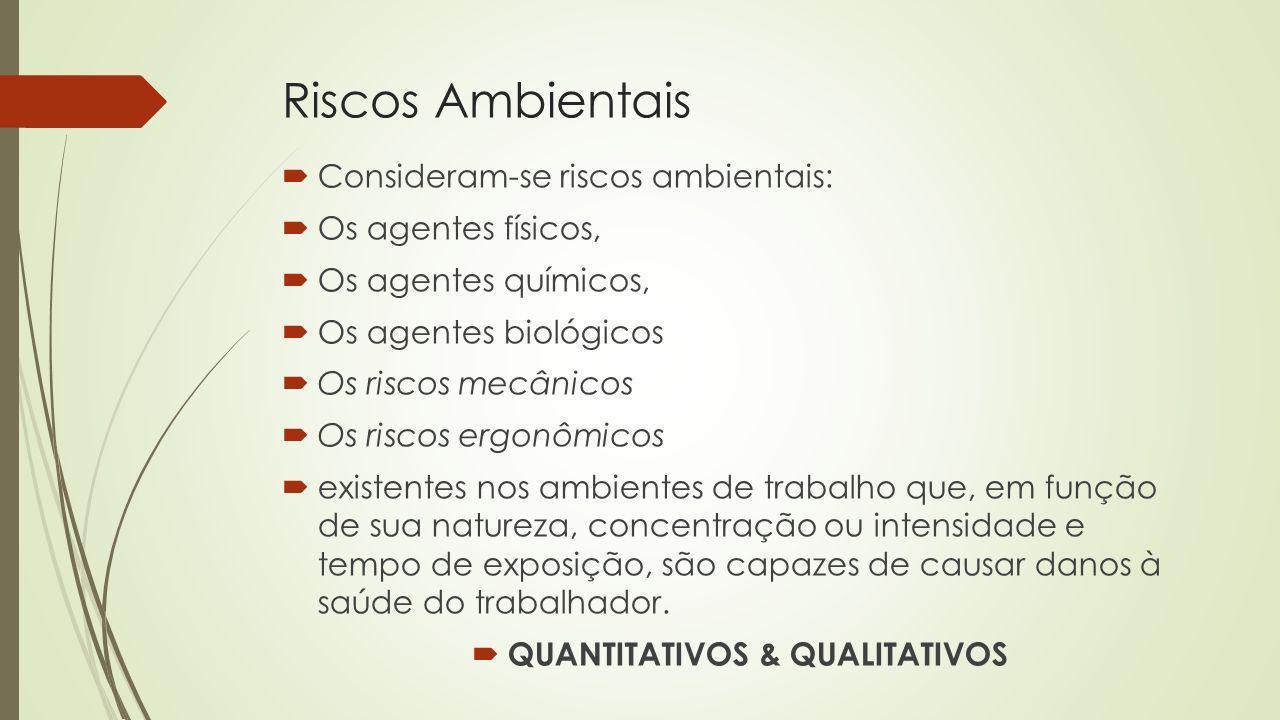 Riscos Ambientais Consideram-se riscos ambientais: Os agentes físicos, Os agentes químicos, Os agentes biológicos Os riscos mecânicos Os riscos ergonô