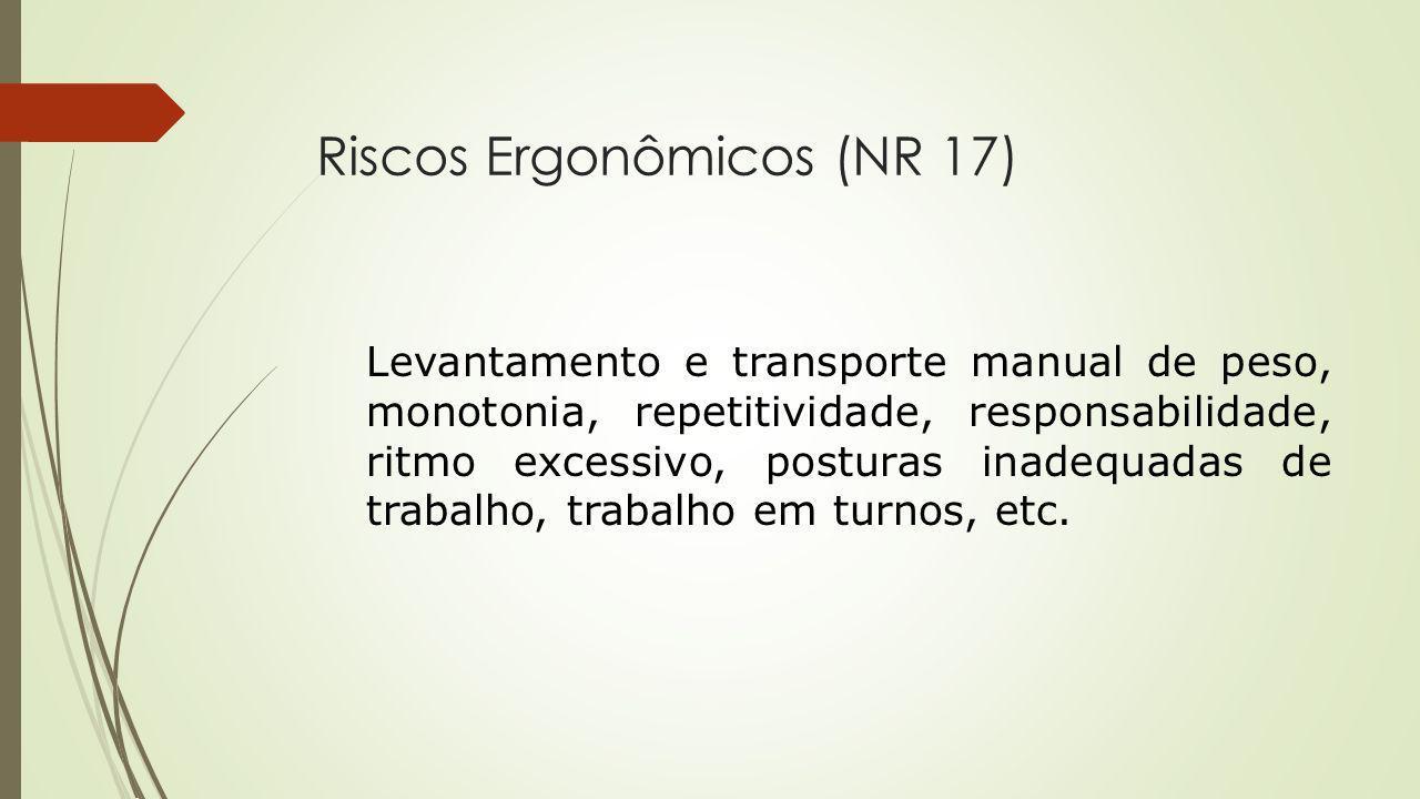 Riscos Ergonômicos (NR 17) Levantamento e transporte manual de peso, monotonia, repetitividade, responsabilidade, ritmo excessivo, posturas inadequada