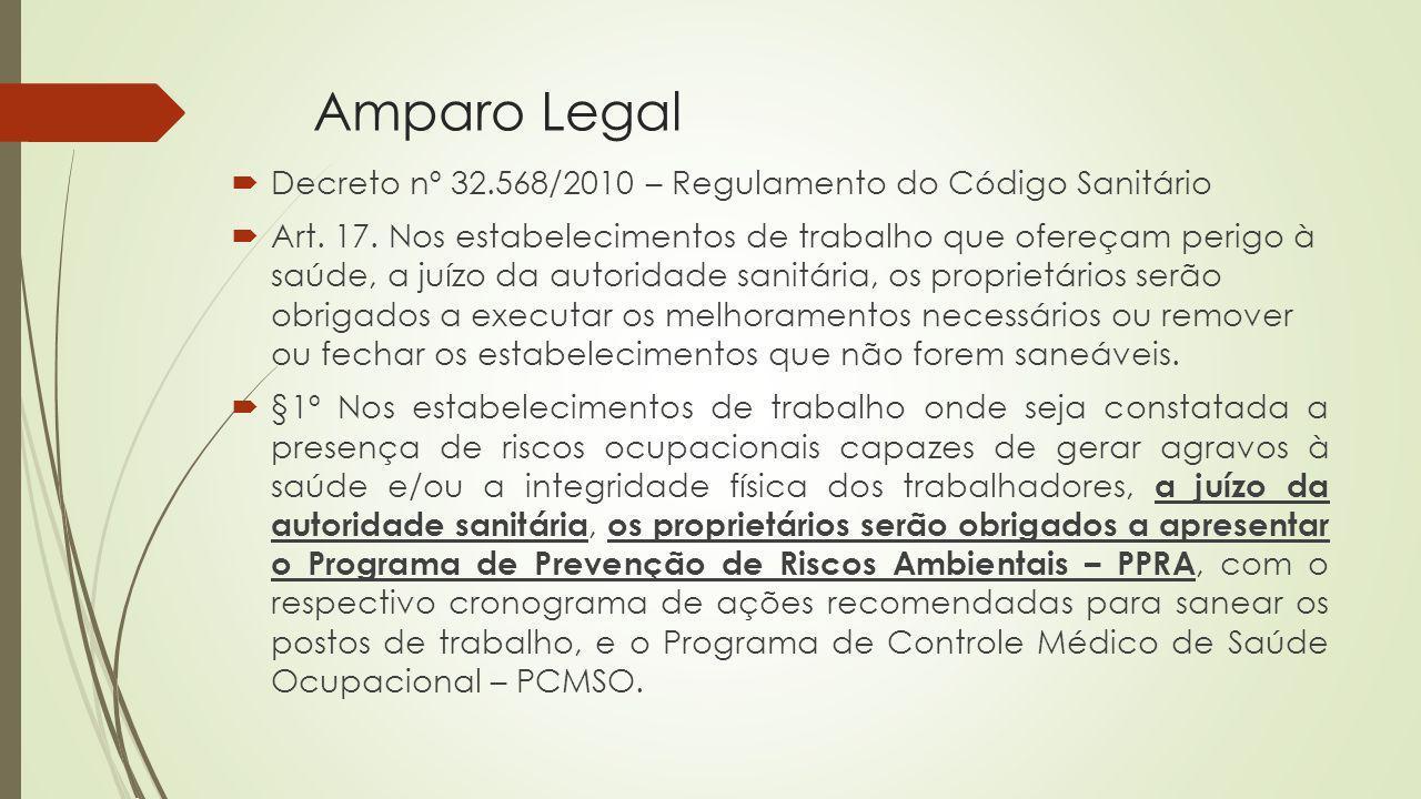 Amparo Legal Decreto nº 32.568/2010 – Regulamento do Código Sanitário Art. 17. Nos estabelecimentos de trabalho que ofereçam perigo à saúde, a juízo d
