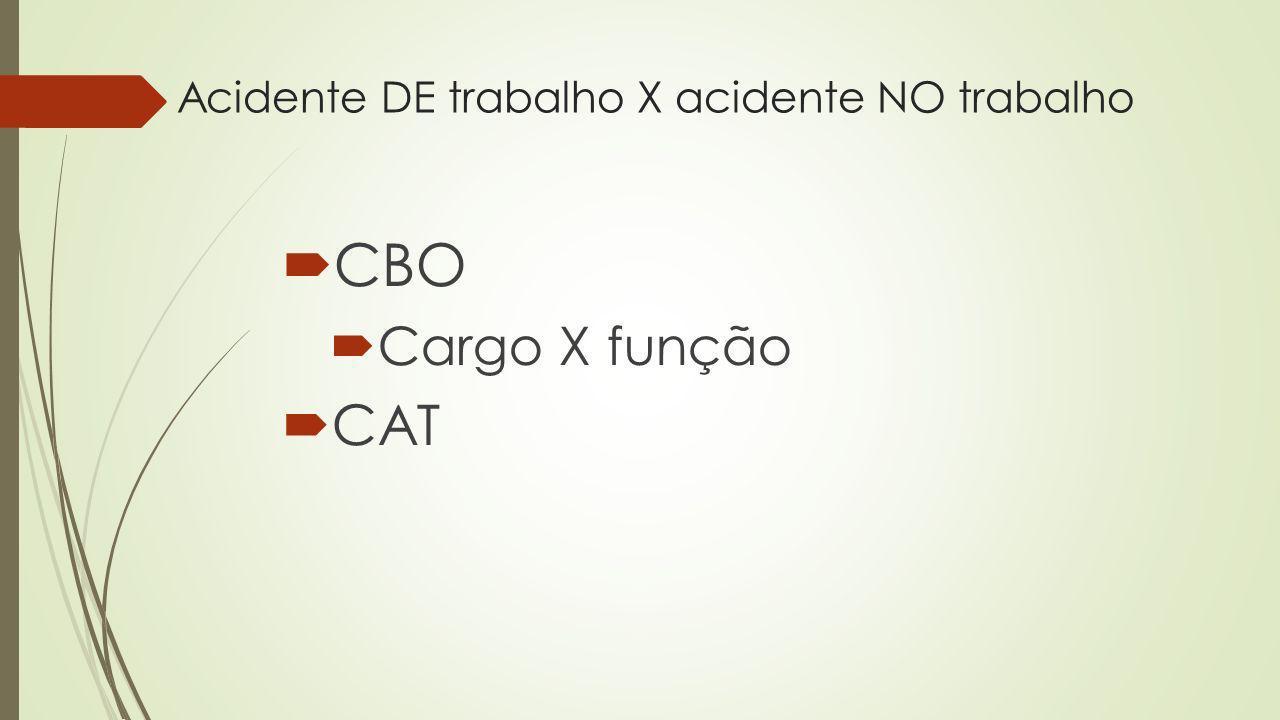 Acidente DE trabalho X acidente NO trabalho CBO Cargo X função CAT