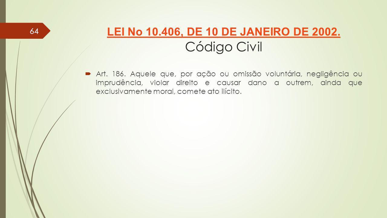 64 LEI No 10.406, DE 10 DE JANEIRO DE 2002. LEI No 10.406, DE 10 DE JANEIRO DE 2002. Código Civil Art. 186. Aquele que, por ação ou omissão voluntária