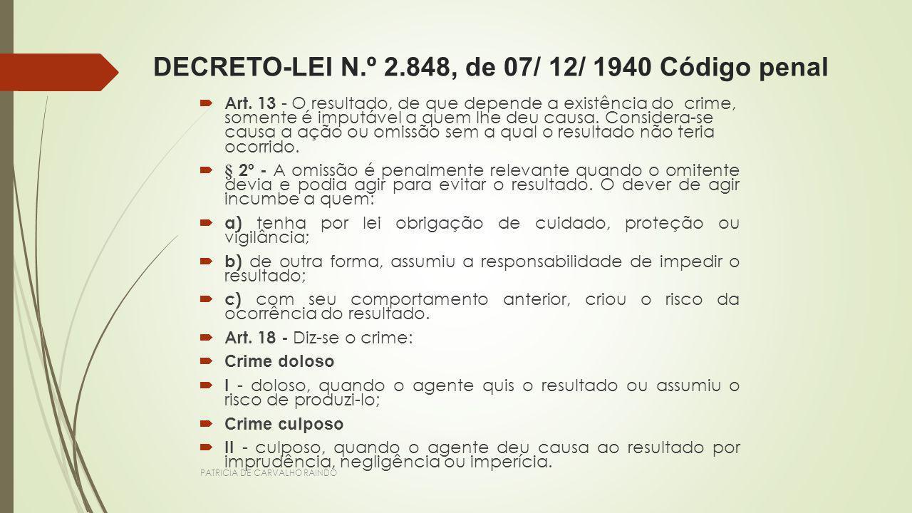 PATRICIA DE CARVALHO RAINDO DECRETO-LEI N.º 2.848, de 07/ 12/ 1940 Código penal Art. 13 - O resultado, de que depende a existência do crime, somente é