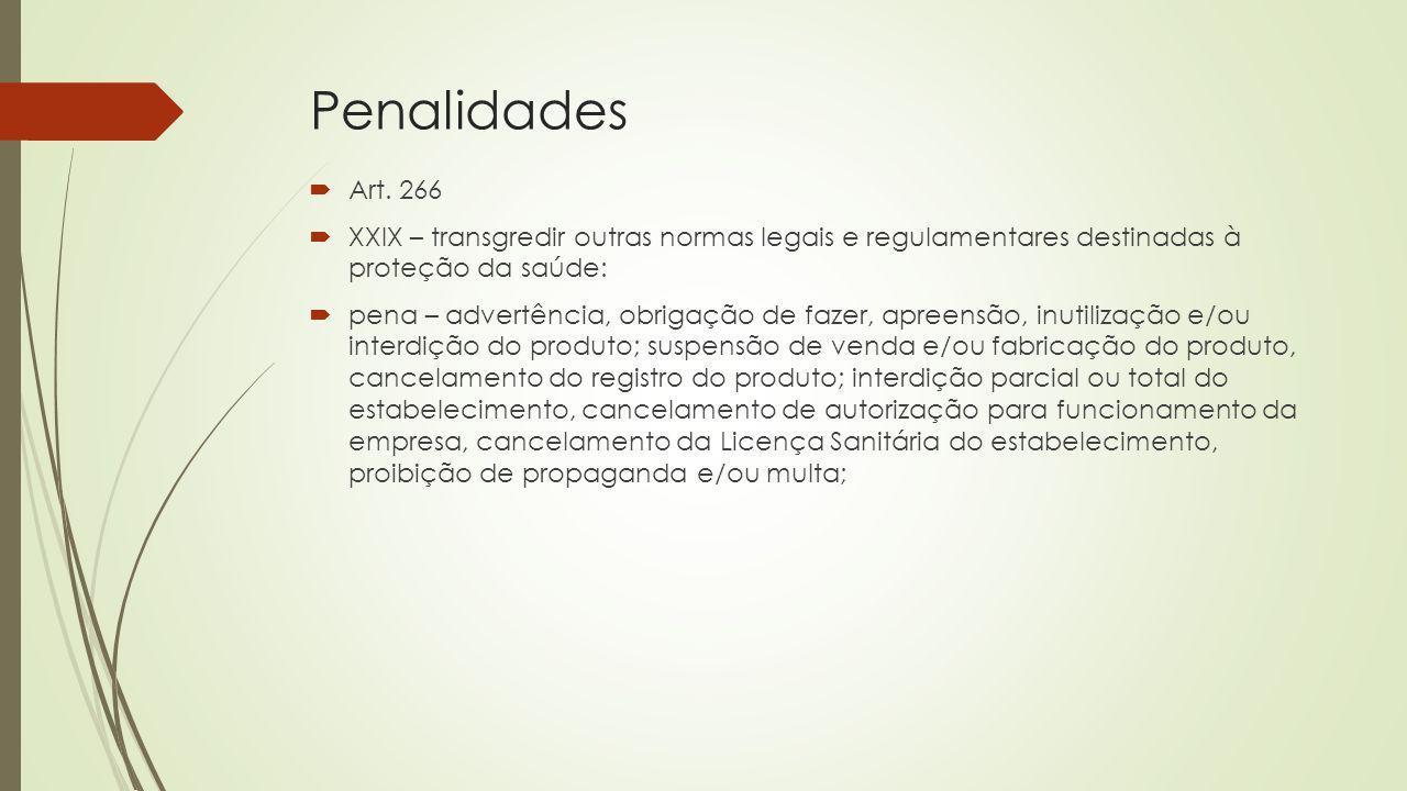 Penalidades Art. 266 XXIX – transgredir outras normas legais e regulamentares destinadas à proteção da saúde: pena – advertência, obrigação de fazer,