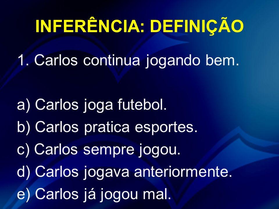 INFERÊNCIA: DEFINIÇÃO 1. Carlos continua jogando bem. a) Carlos joga futebol. b) Carlos pratica esportes. c) Carlos sempre jogou. d) Carlos jogava ant