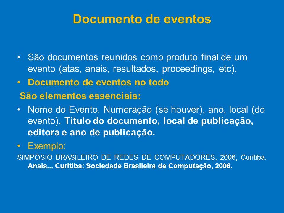 Documento de eventos São documentos reunidos como produto final de um evento (atas, anais, resultados, proceedings, etc). Documento de eventos no todo