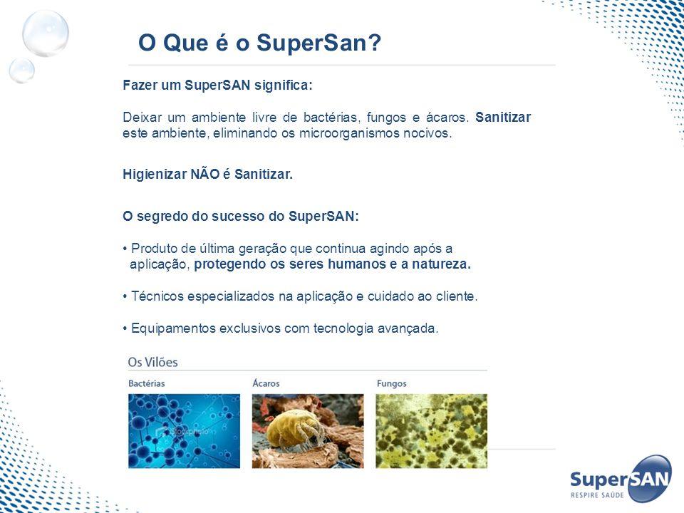 O Que é o SuperSan? Fazer um SuperSAN significa: Deixar um ambiente livre de bactérias, fungos e ácaros. Sanitizar este ambiente, eliminando os microo