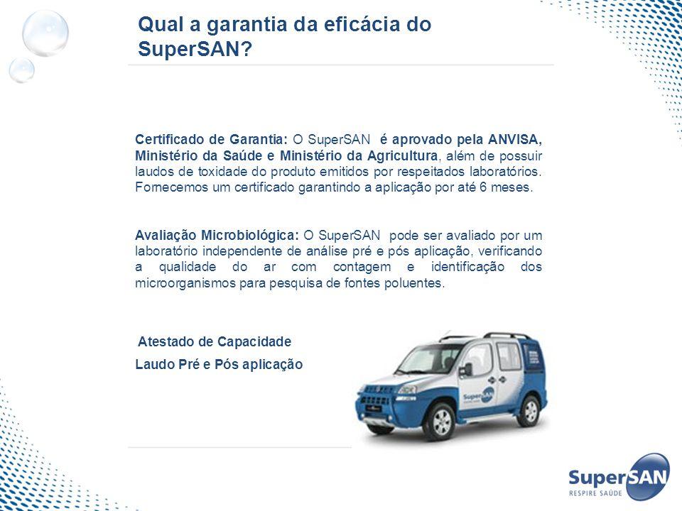 Qual a garantia da eficácia do SuperSAN? Certificado de Garantia: O SuperSAN é aprovado pela ANVISA, Ministério da Saúde e Ministério da Agricultura,