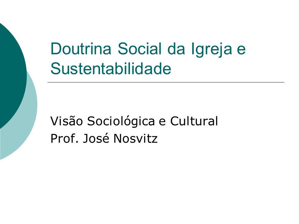 Doutrina Social da Igreja e Sustentabilidade Visão Sociológica e Cultural Prof. José Nosvitz