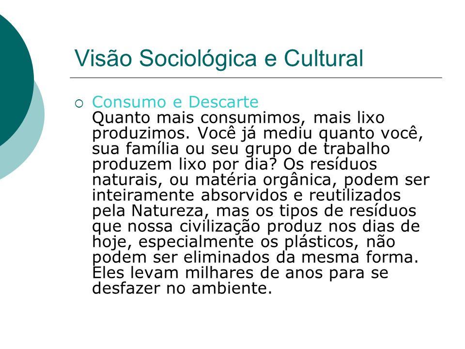 Visão Sociológica e Cultural Consumo e Descarte Quanto mais consumimos, mais lixo produzimos.