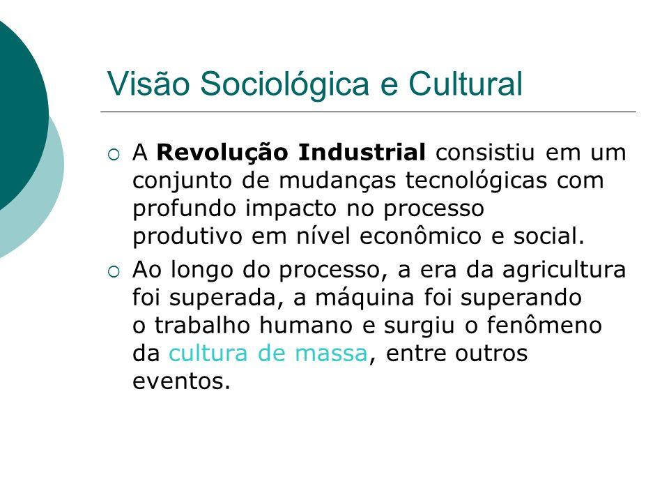 Visão Sociológica e Cultural A Revolução Industrial consistiu em um conjunto de mudanças tecnológicas com profundo impacto no processo produtivo em nível econômico e social.