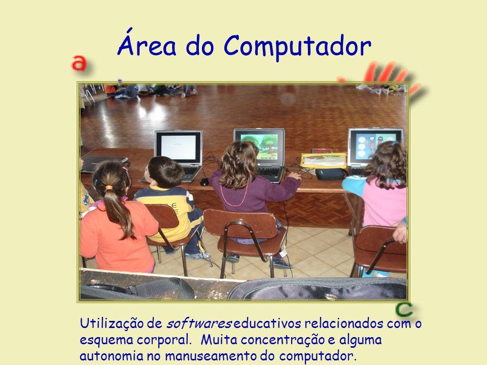 Área do Computador Utilização de softwares educativos relacionados com o esquema corporal.