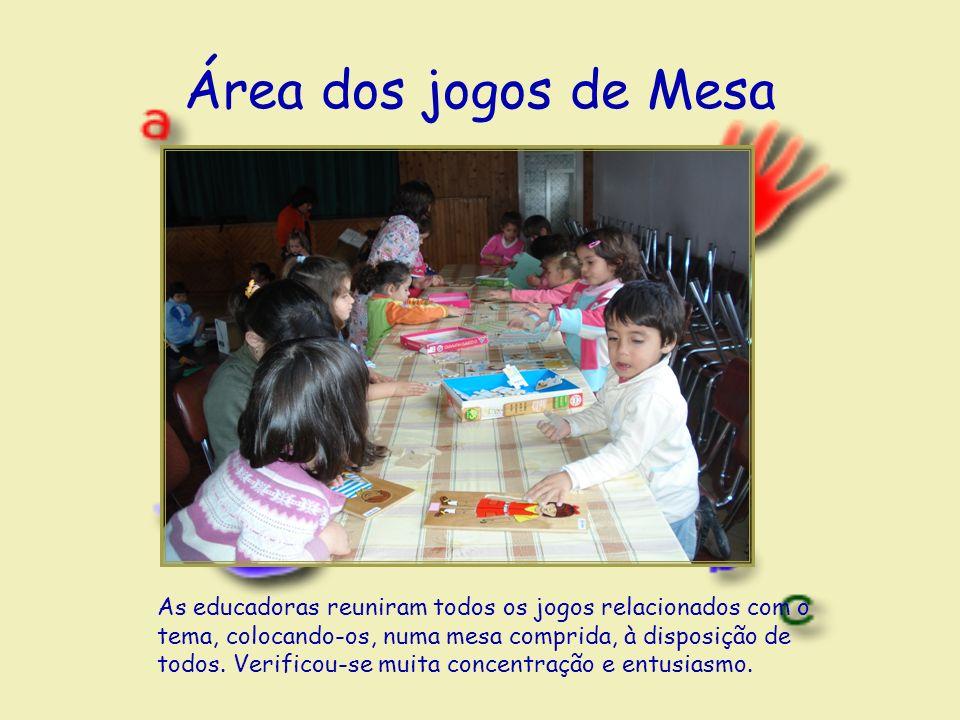 Área dos jogos de Mesa As educadoras reuniram todos os jogos relacionados com o tema, colocando-os, numa mesa comprida, à disposição de todos.