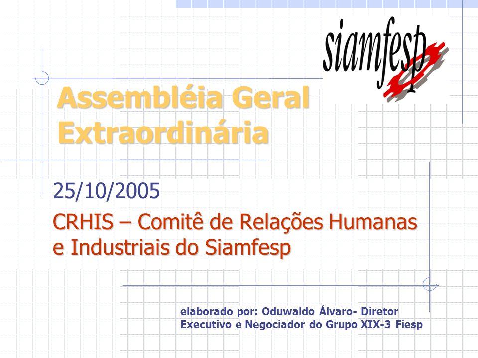 Assembléia Geral Extraordinária 25/10/2005 CRHIS – Comitê de Relações Humanas e Industriais do Siamfesp elaborado por: Oduwaldo Álvaro- Diretor Execut