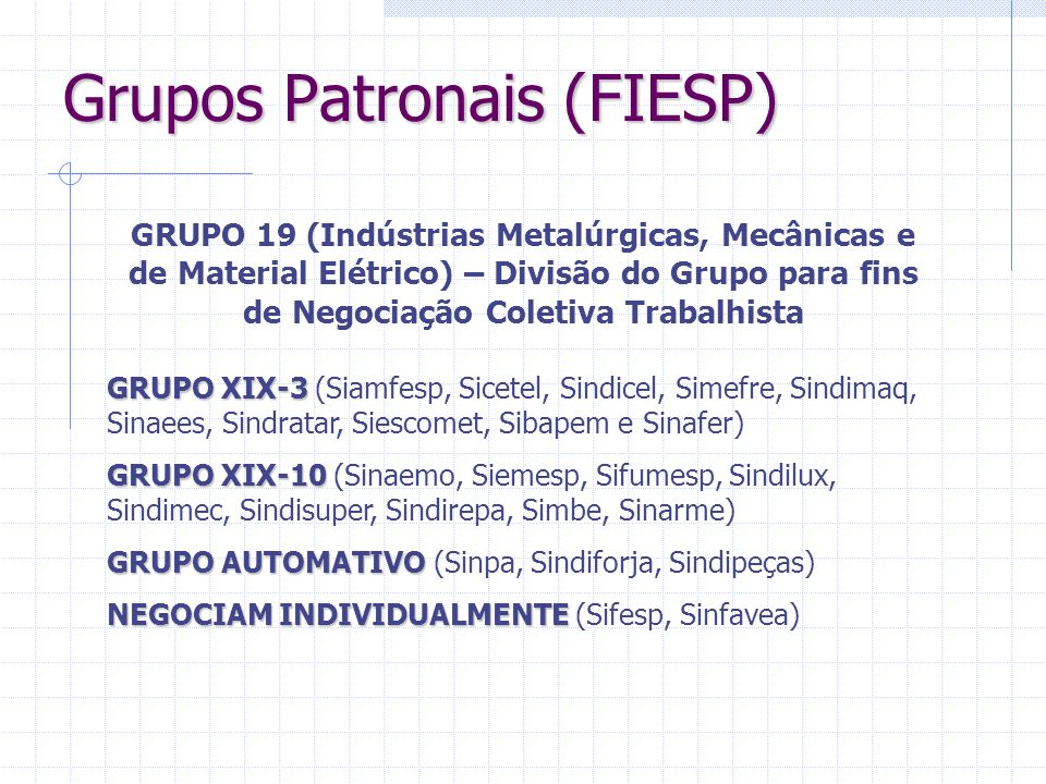 Grupos Patronais (FIESP) GRUPO XIX-3 GRUPO XIX-3 (Siamfesp, Sicetel, Sindicel, Simefre, Sindimaq, Sinaees, Sindratar, Siescomet, Sibapem e Sinafer) GR