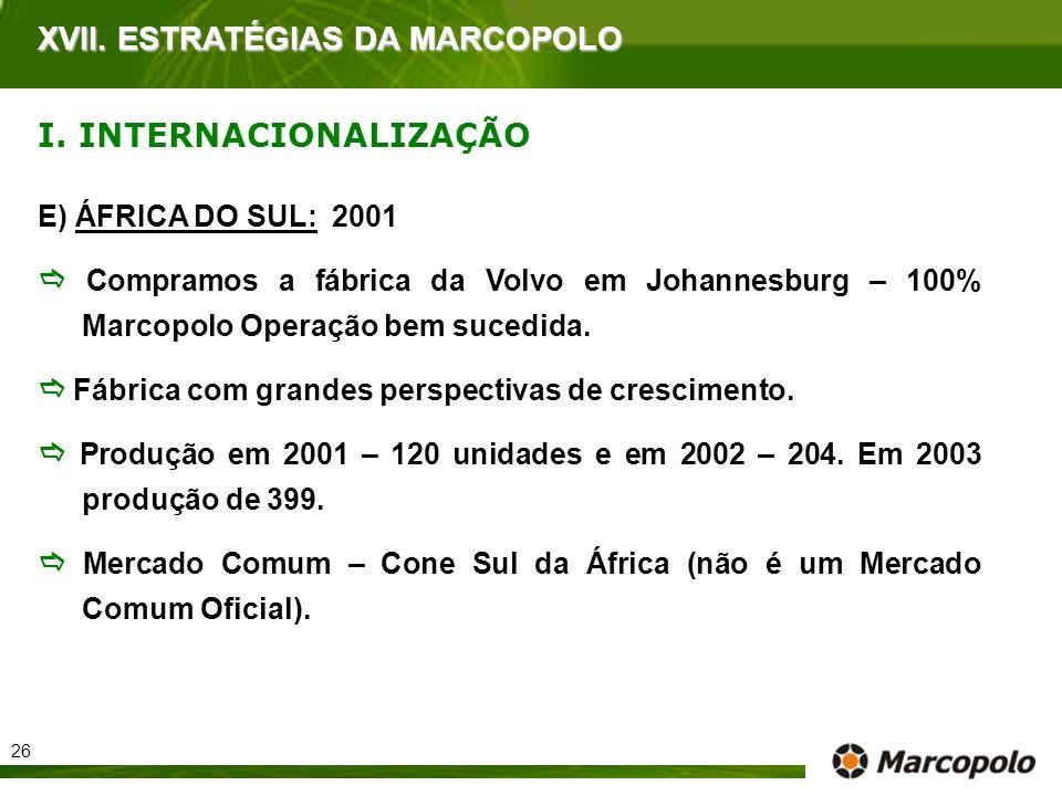 E) ÁFRICA DO SUL: 2001 Compramos a fábrica da Volvo em Johannesburg – 100% Marcopolo Operação bem sucedida. Fábrica com grandes perspectivas de cresci