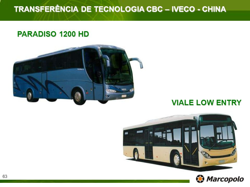 TRANSFERÊNCIA DE TECNOLOGIA CBC – IVECO - CHINA VIALE LOW ENTRY PARADISO 1200 HD 63