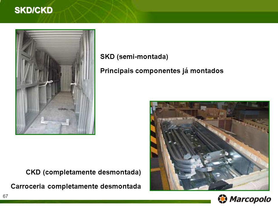 SKD/CKD SKD (semi-montada) Principais componentes já montados CKD (completamente desmontada) Carroceria completamente desmontada 67