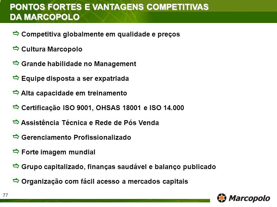 PONTOS FORTES E VANTAGENS COMPETITIVAS DA MARCOPOLO Competitiva globalmente em qualidade e preços Cultura Marcopolo Grande habilidade no Management Eq