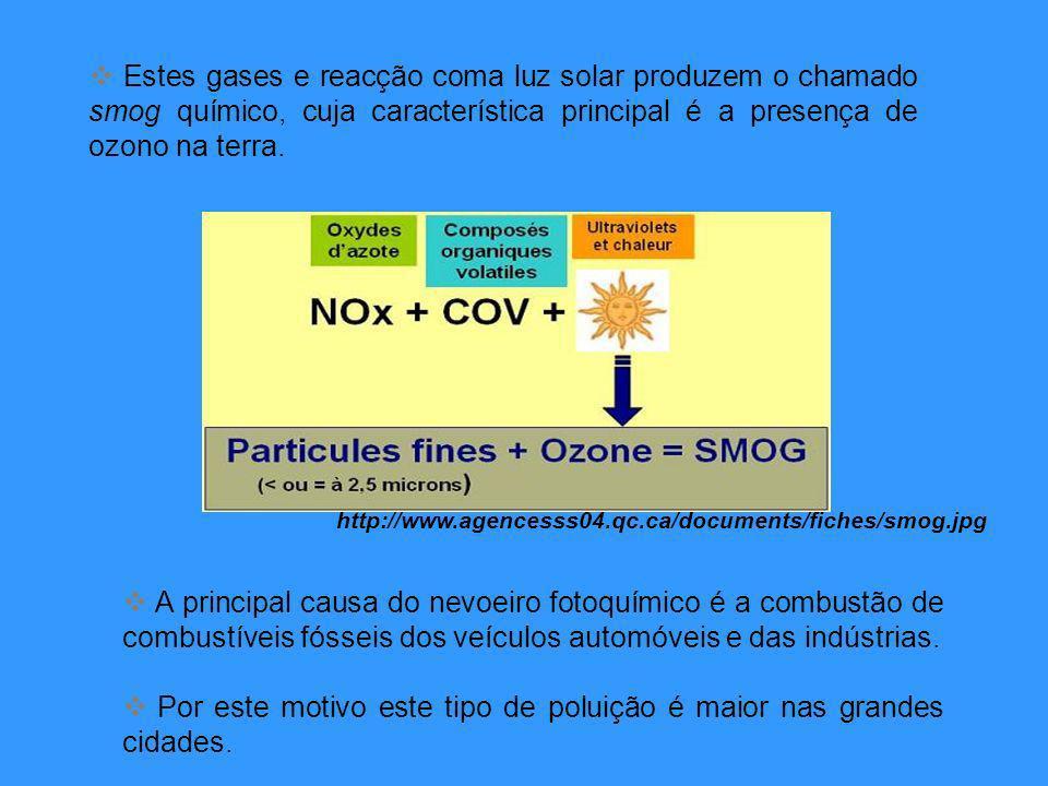 Estes gases e reacção coma luz solar produzem o chamado smog químico, cuja característica principal é a presença de ozono na terra.