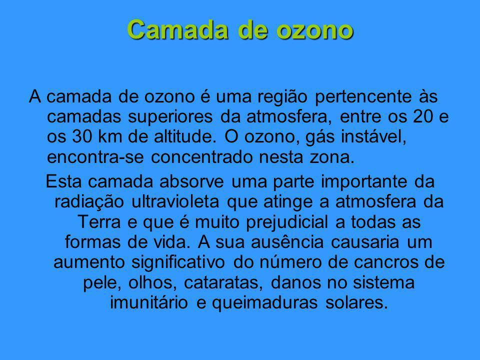 Camada de ozono A camada de ozono é uma região pertencente às camadas superiores da atmosfera, entre os 20 e os 30 km de altitude.