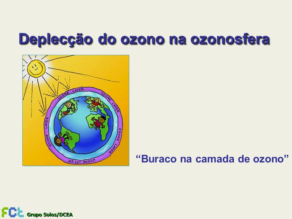 Grupo Solos/DCEA Deplecção do ozono na ozonosfera Buraco na camada de ozono