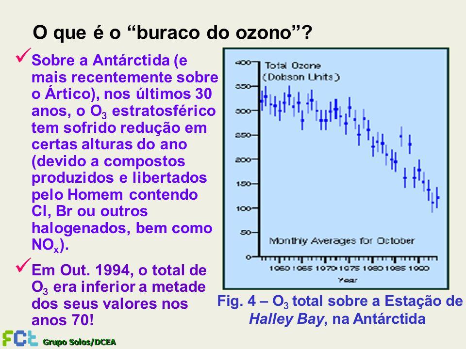 Grupo Solos/DCEA Sobre a Antárctida (e mais recentemente sobre o Ártico), nos últimos 30 anos, o O 3 estratosférico tem sofrido redução em certas altu