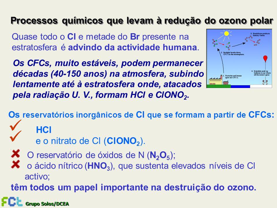 Grupo Solos/DCEA Processos químicos que levam à redução do ozono polar Quase todo o Cl e metade do Br presente na estratosfera é advindo da actividade