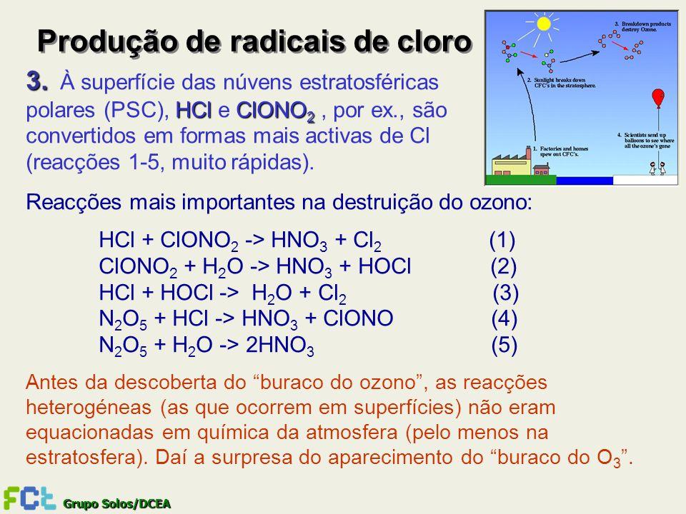 Grupo Solos/DCEA Produção de radicais de cloro 3. 3. À superfície das núvens estratosféricas HClClONO 2 polares (PSC), HCl e ClONO 2, por ex., são con