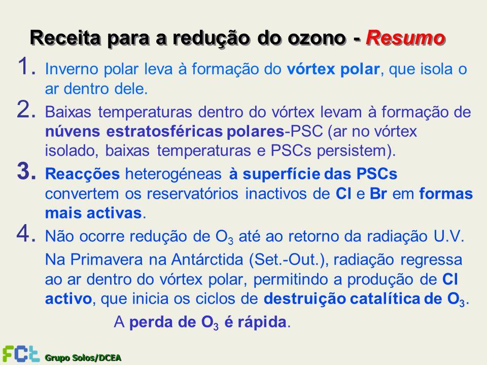 Grupo Solos/DCEA Receita para a redução do ozono - Resumo 1. Inverno polar leva à formação do vórtex polar, que isola o ar dentro dele. 2. Baixas temp