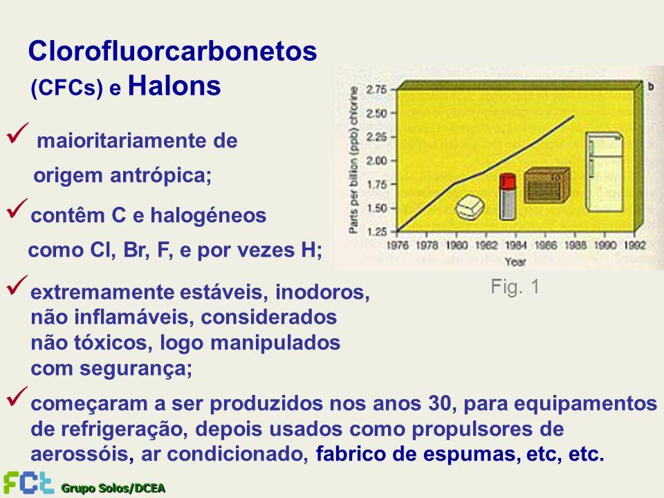 Grupo Solos/DCEA Clorofluorcarbonetos (CFCs) e Halons maioritariamente de origem antrópica; contêm C e halogéneos como Cl, Br, F, e por vezes H; extre