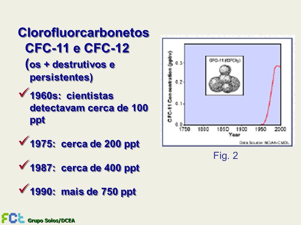 Grupo Solos/DCEA Clorofluorcarbonetos CFC-11 e CFC-12 ( os + destrutivos e persistentes) 1960s: cientistas detectavam cerca de 100 ppt 1975: cerca de