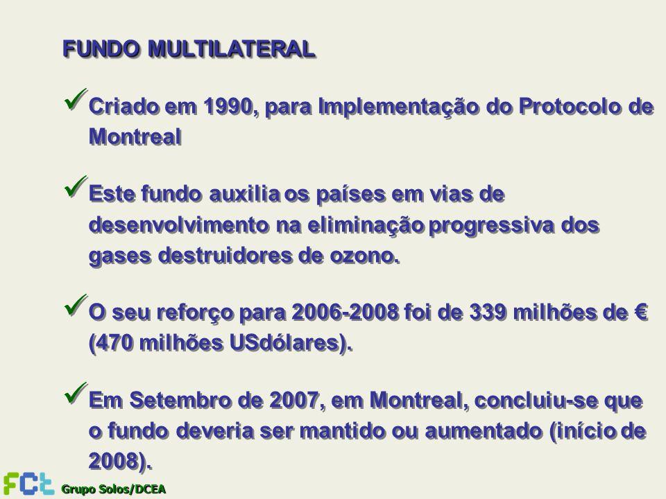 Grupo Solos/DCEA FUNDO MULTILATERAL Criado em 1990, para Implementação do Protocolo de Montreal Este fundo auxilia os países em vias de desenvolviment