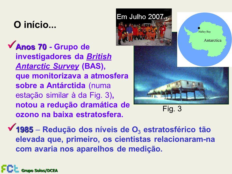 Grupo Solos/DCEA O início... Anos 70 Anos 70 - Grupo de investigadores da British Antarctic Survey (BAS), que monitorizava a atmosfera sobre a Antárct