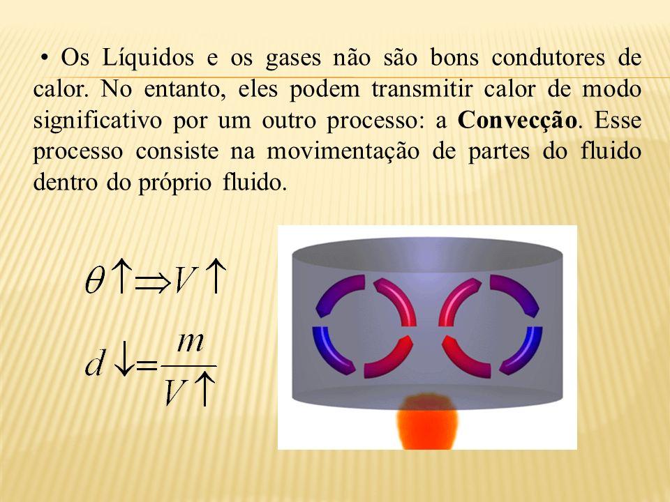 Os Líquidos e os gases não são bons condutores de calor.