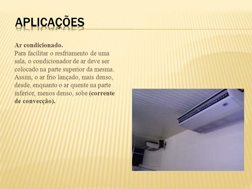 Ar condicionado. Para facilitar o resfriamento de uma sala, o condicionador de ar deve ser colocado na parte superior da mesma. Assim, o ar frio lança