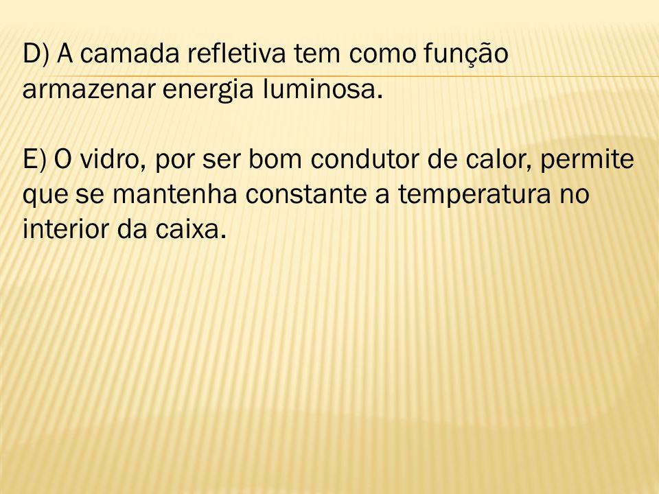 D) A camada refletiva tem como função armazenar energia luminosa. E) O vidro, por ser bom condutor de calor, permite que se mantenha constante a tempe